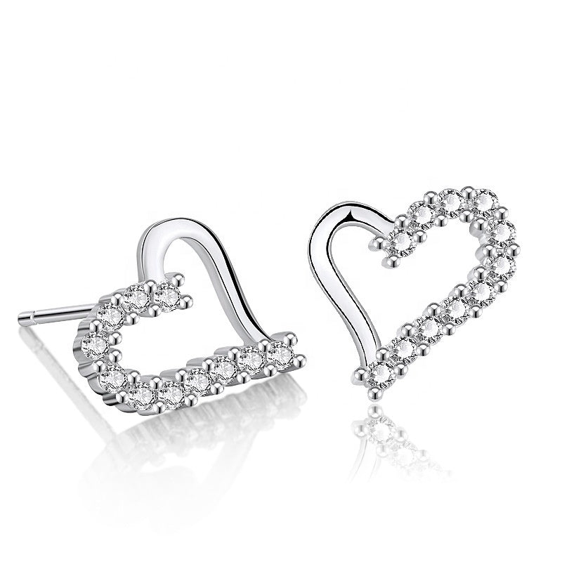 CZ Partially Encrusted Heart Earrings