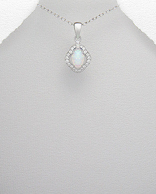 Diamond Shape Opal Necklace