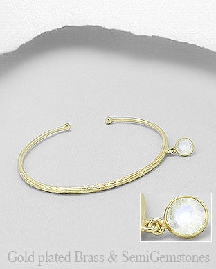 18K Plated Bangle with Moonstone