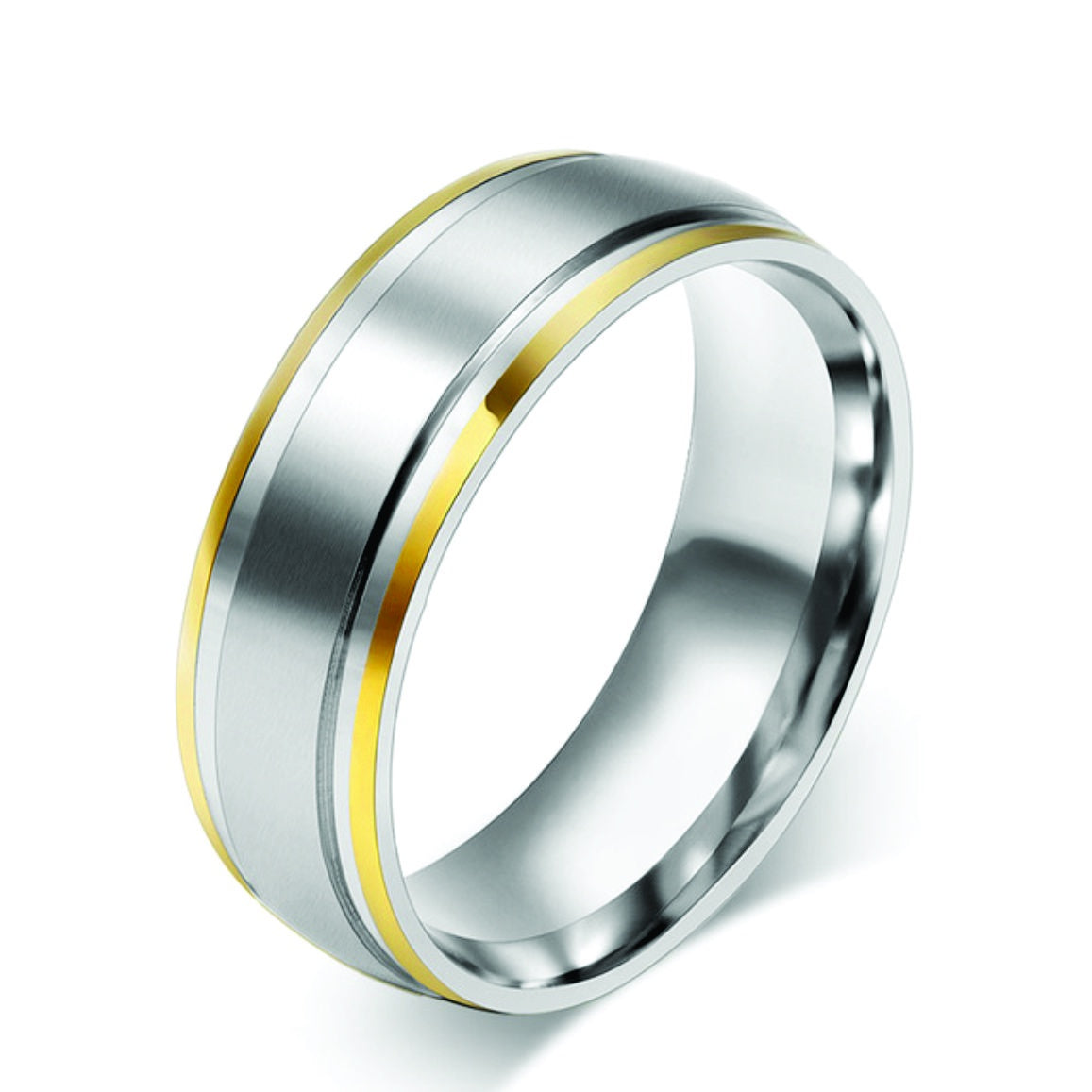 Stainless Steel with Gold Edge Ring