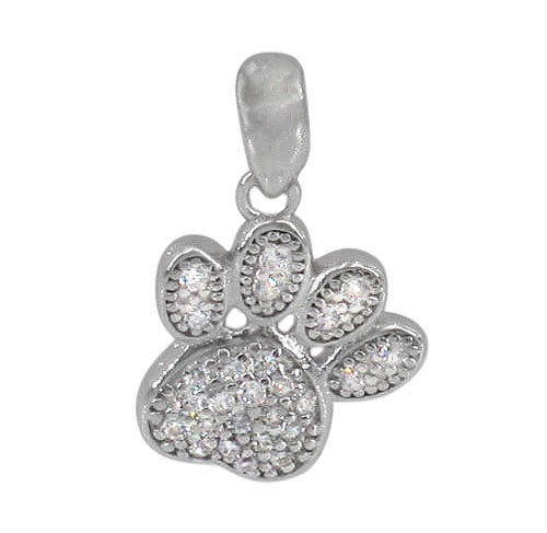 CZ Micro Pave Paw Necklace