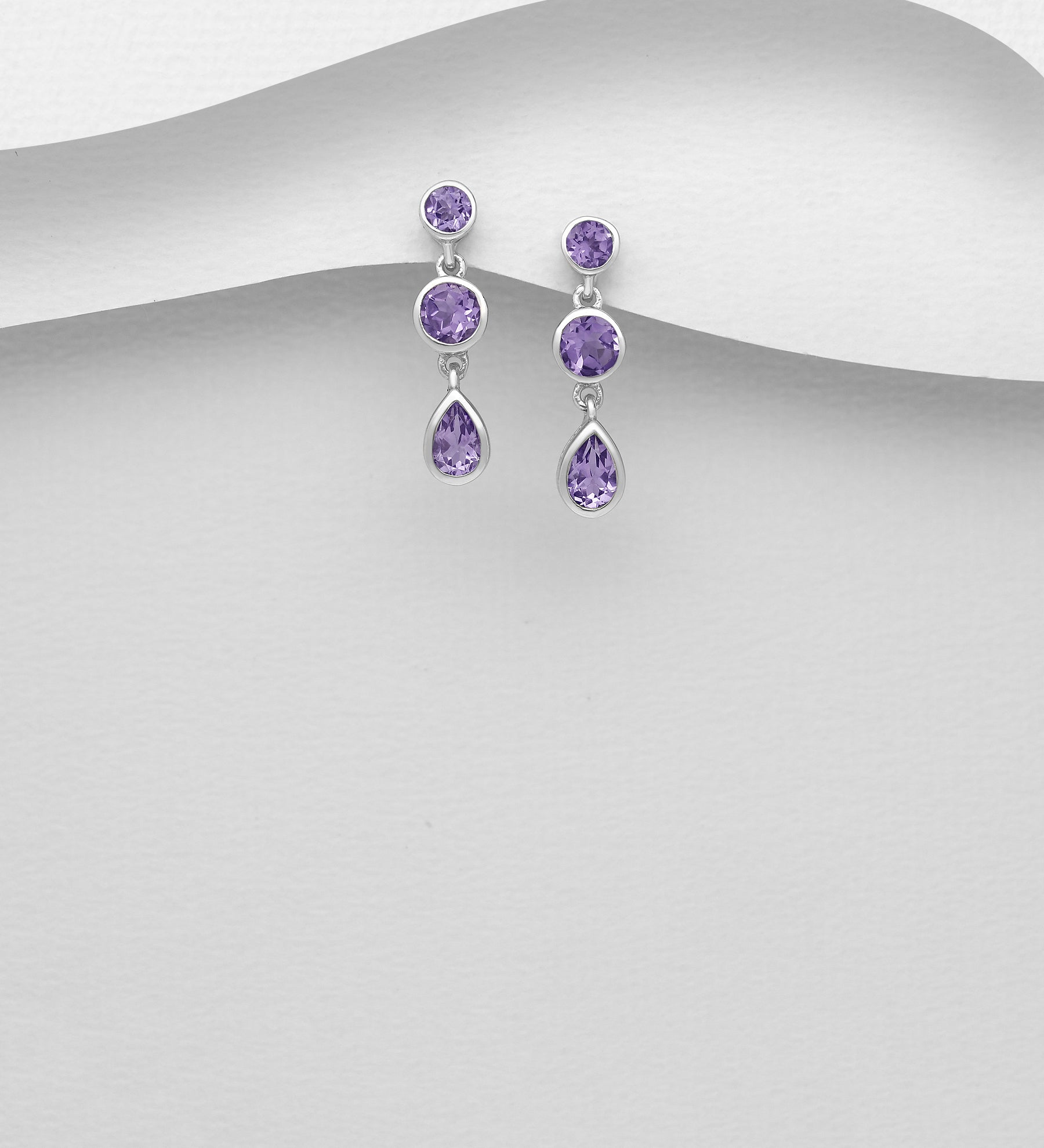 Triple Shape Drop Earrings