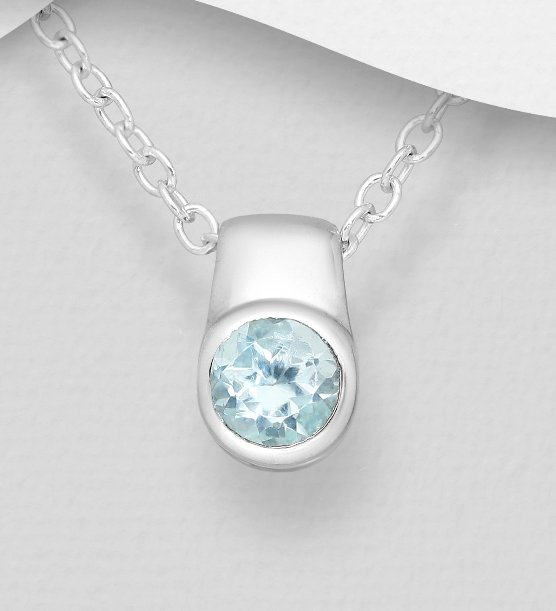 Bezel Solitaire Semi Precious Necklace