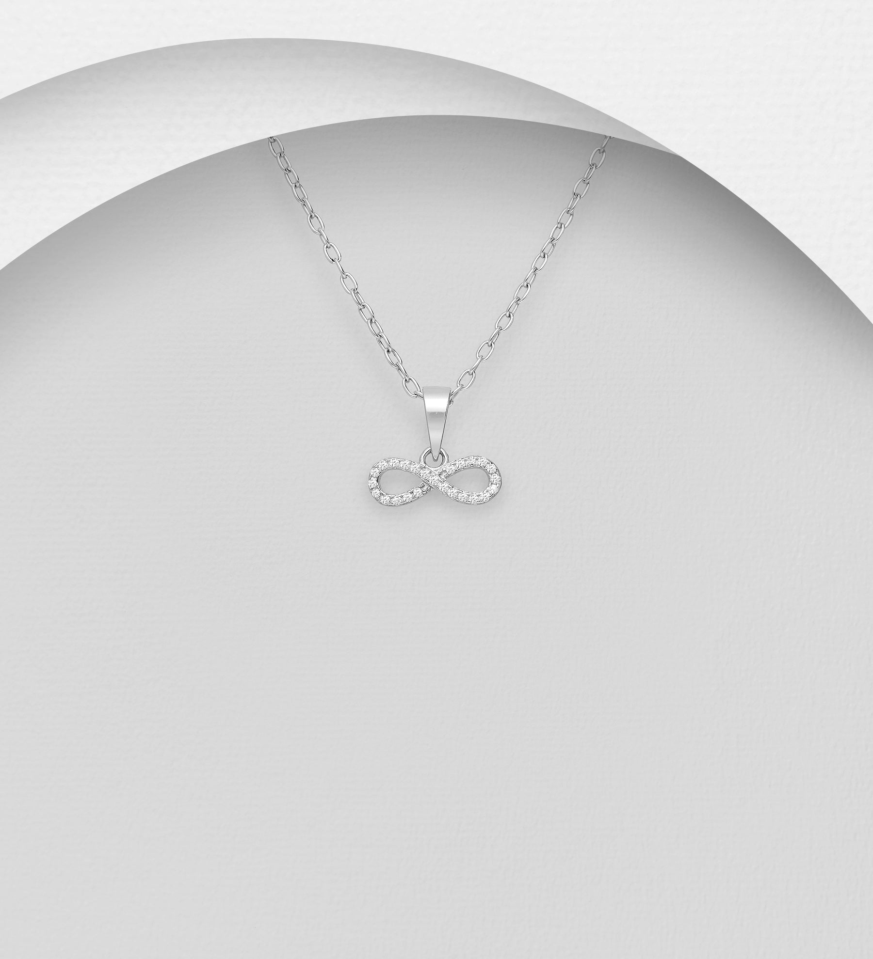Horizontal CZ Infinity Necklace