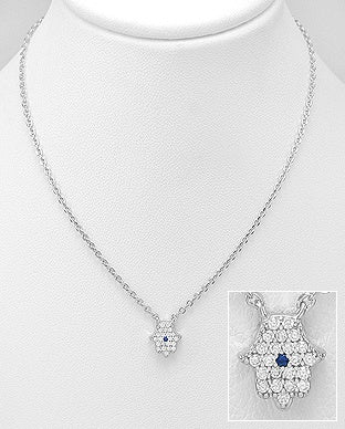 CZ Hamsa Attached Necklace