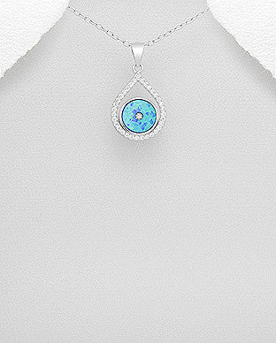 Opal CZ Droplet Necklace
