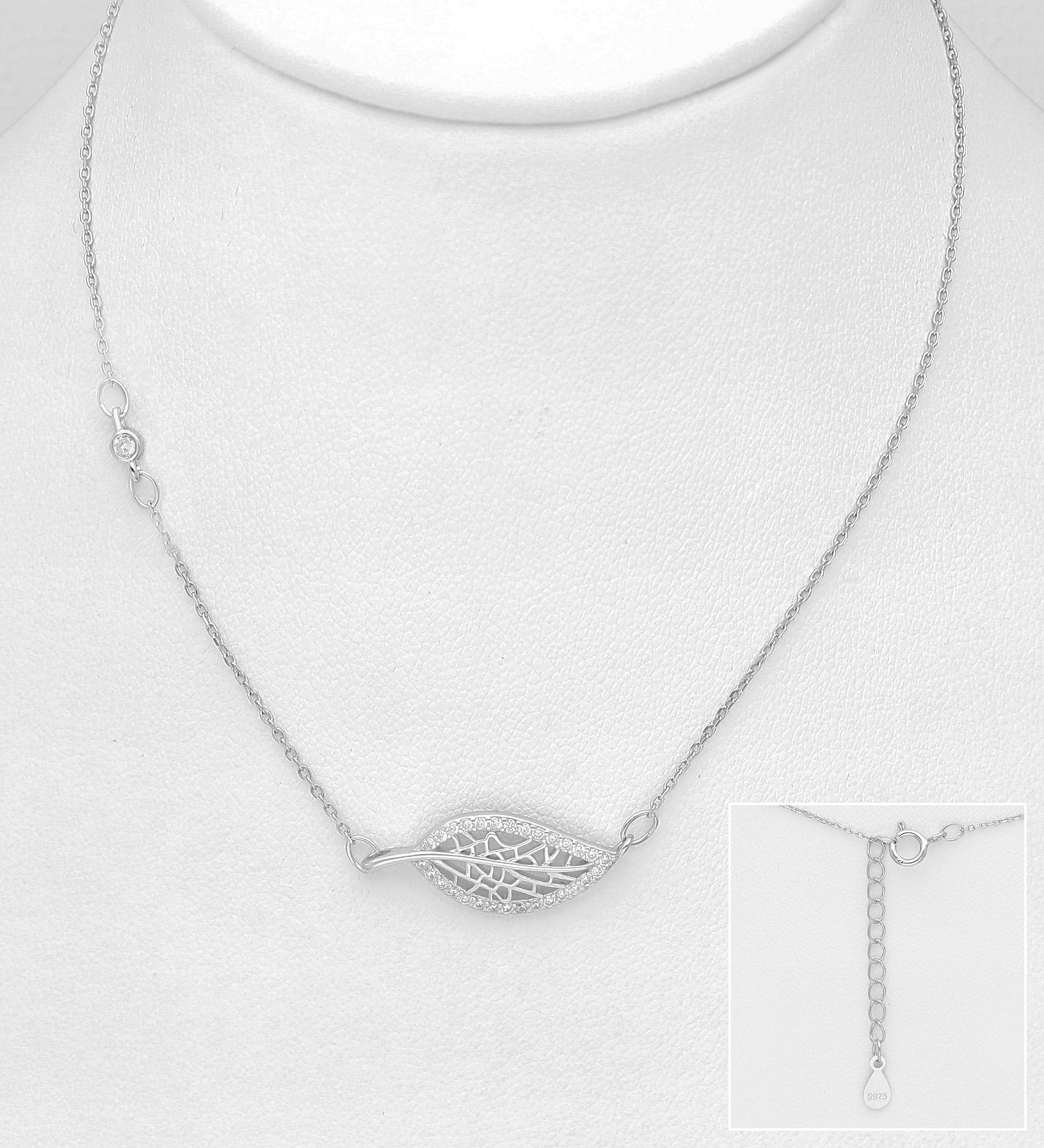 Sideways CZ Leaf Necklace