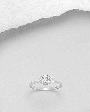 CZ Evil Eye with Lashes Ring