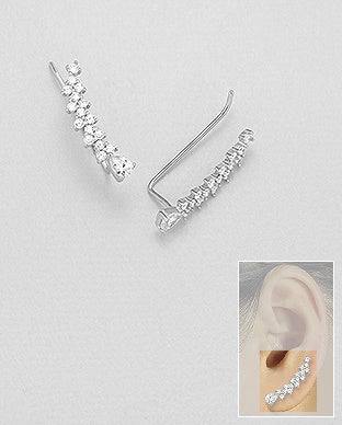 Arrowed CZ Ear Climbers