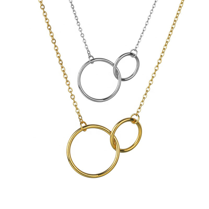 Double Smooth Circle Necklace