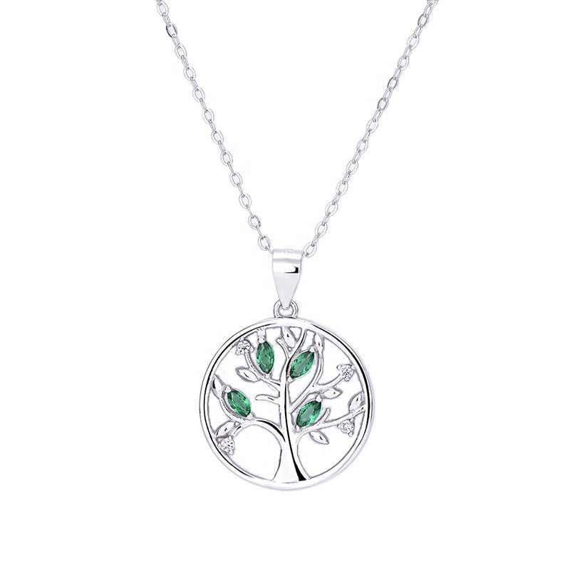 Round CZ Leaves Tree of Life Necklace