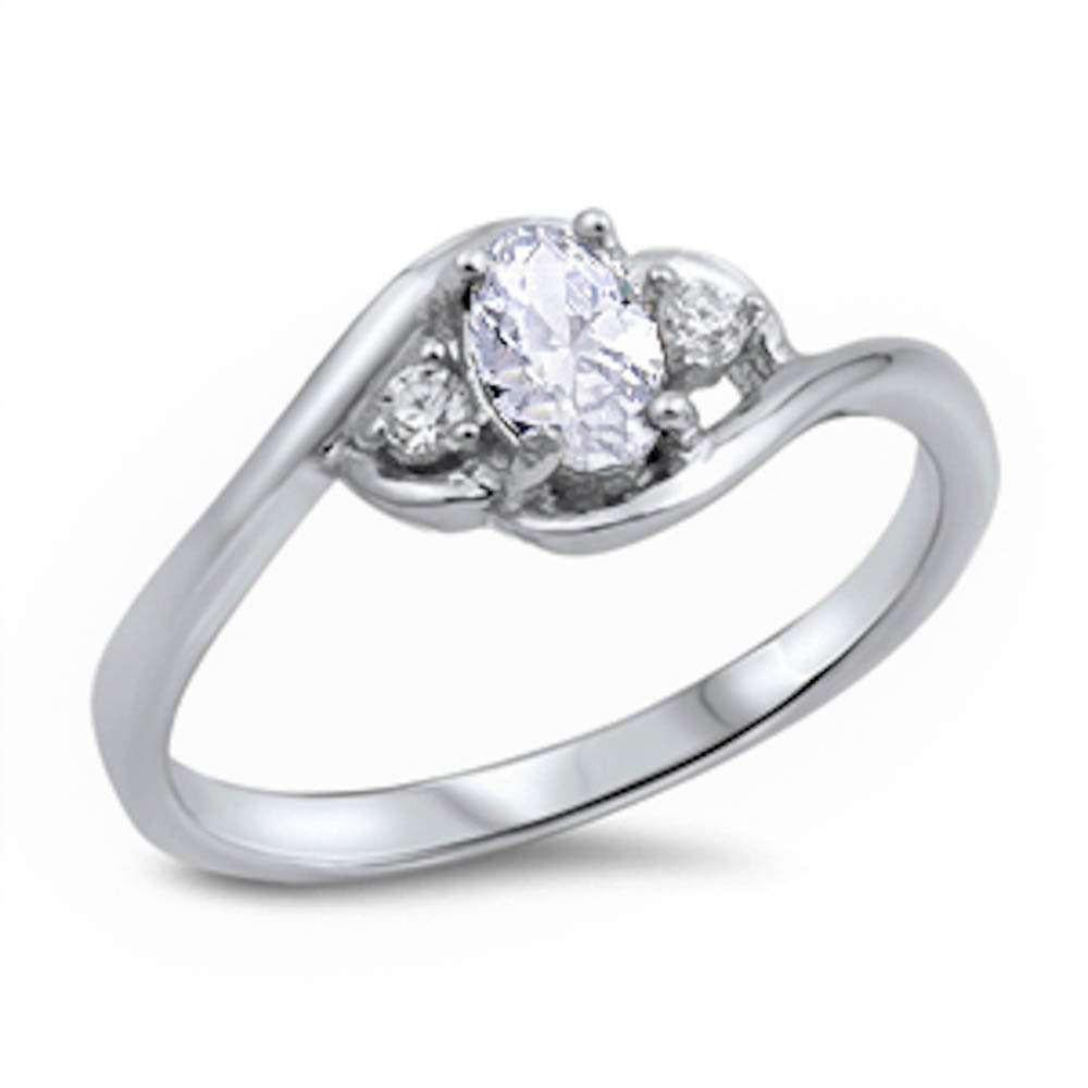 Oval Triple CZ Ring