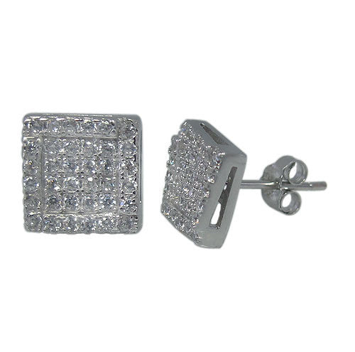 CZ Micropaved Square Stud Earrings