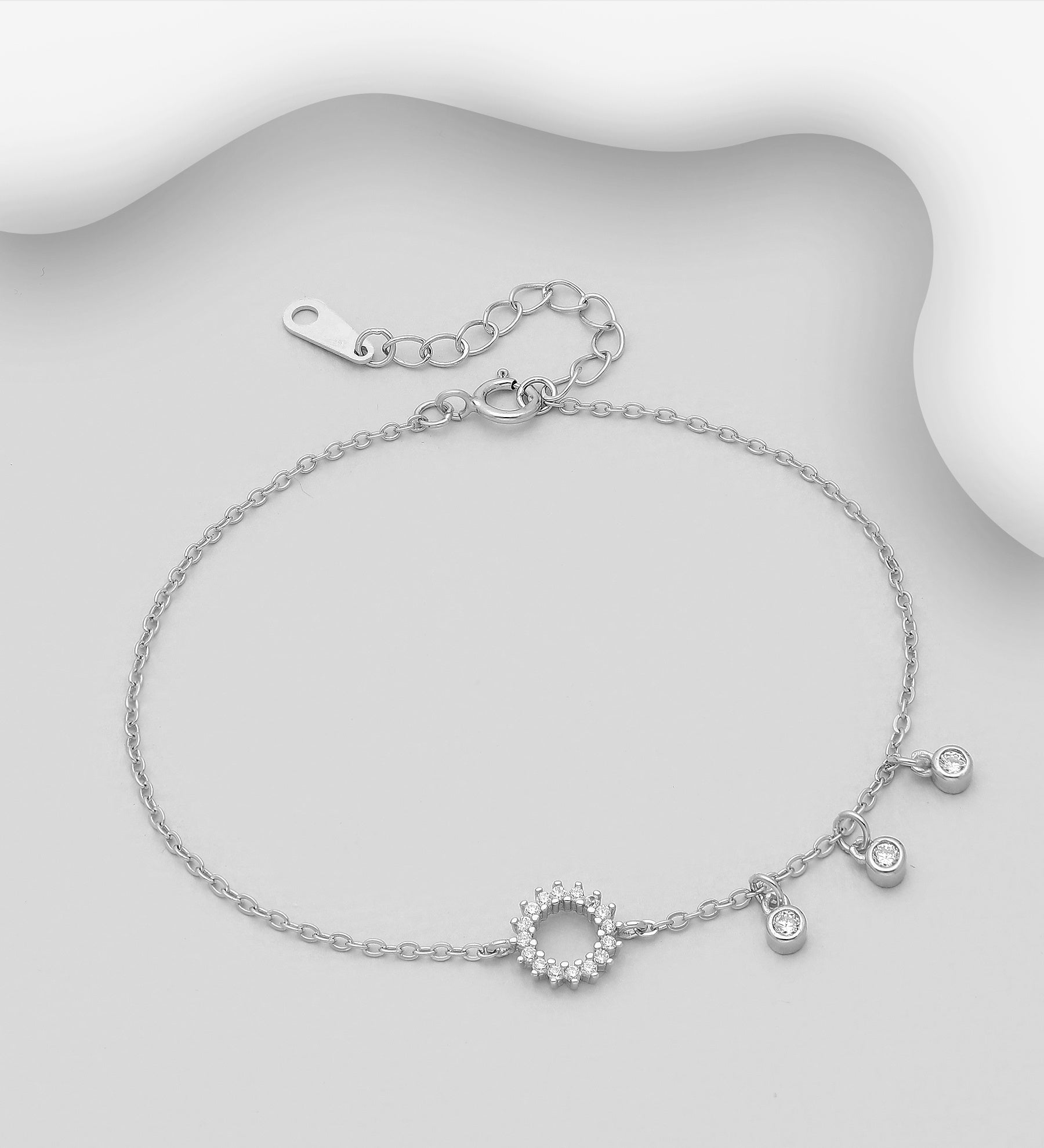 3 CZ Eternity Chain Bracelet