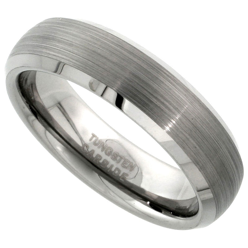 Dome Brushed Finish Beveled Edge Tungsten Ring 6mm