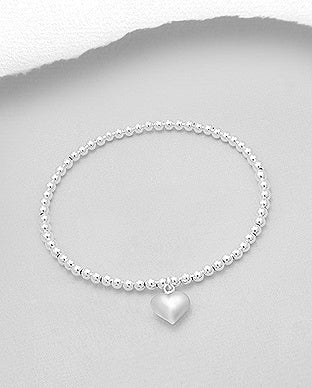 Sterling Ball Stretch Bracelet with Puff Heart