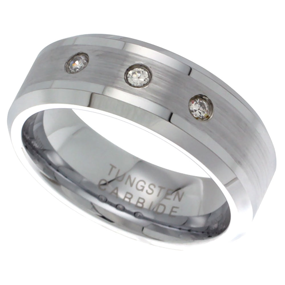 3 CZ Satin Finish Beveled Tungsten Ring