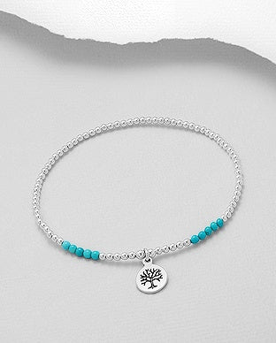 Ball and Turquoise Tree of Life Bracelet