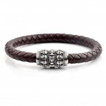 Skull Bead Brown Braided Leather Bracelet (14mm Wide) - 8.5""