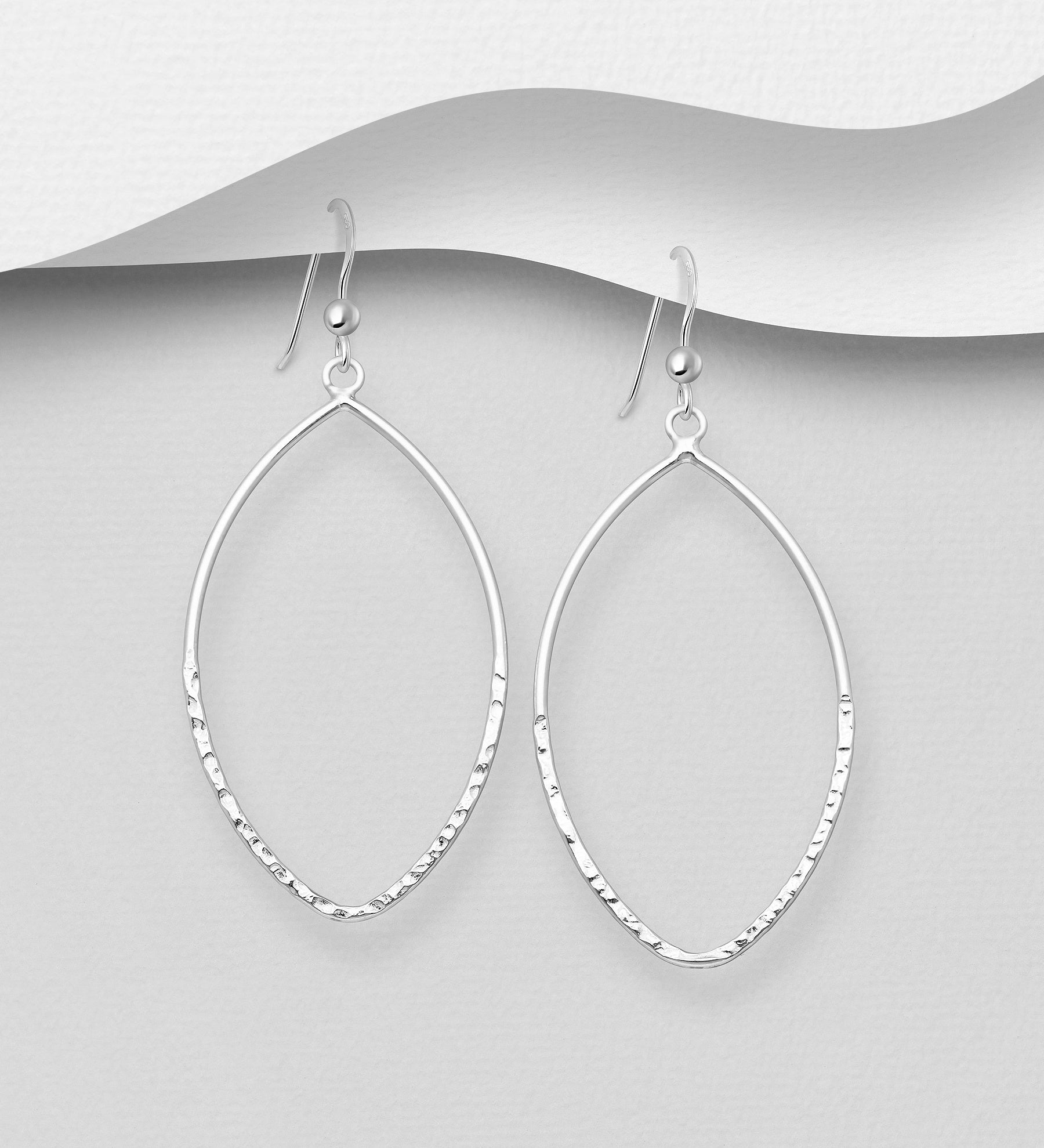 Oval Hammered Hook Earrings