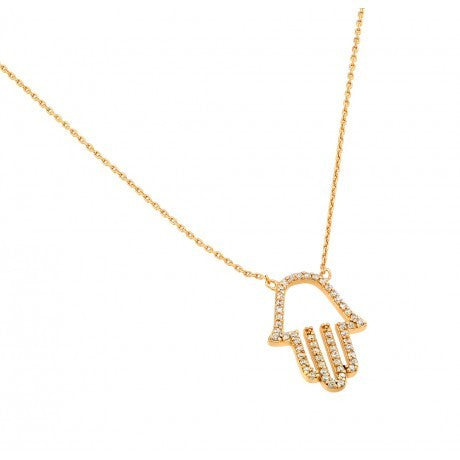 Gold Plated Clear CZ Hamsa Pendant Necklace