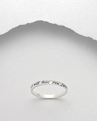 "Sterling Silver "" I Will Love You Forever"" Ring - Layered Charm"