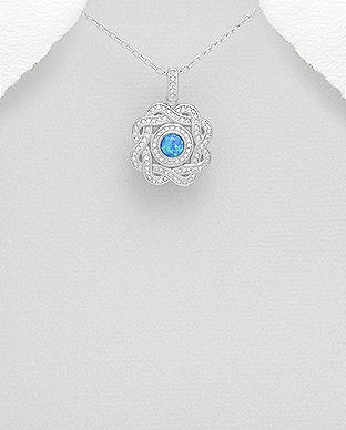 Swirl Circle Opal Necklace