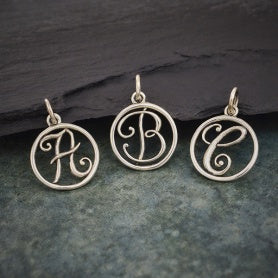Circle Script Initial Necklace