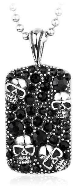 CZ Skull Dogtag Necklace