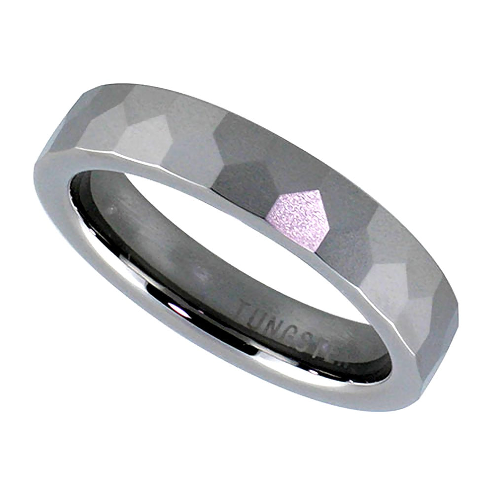 Domed Faceted Tungsten Ring