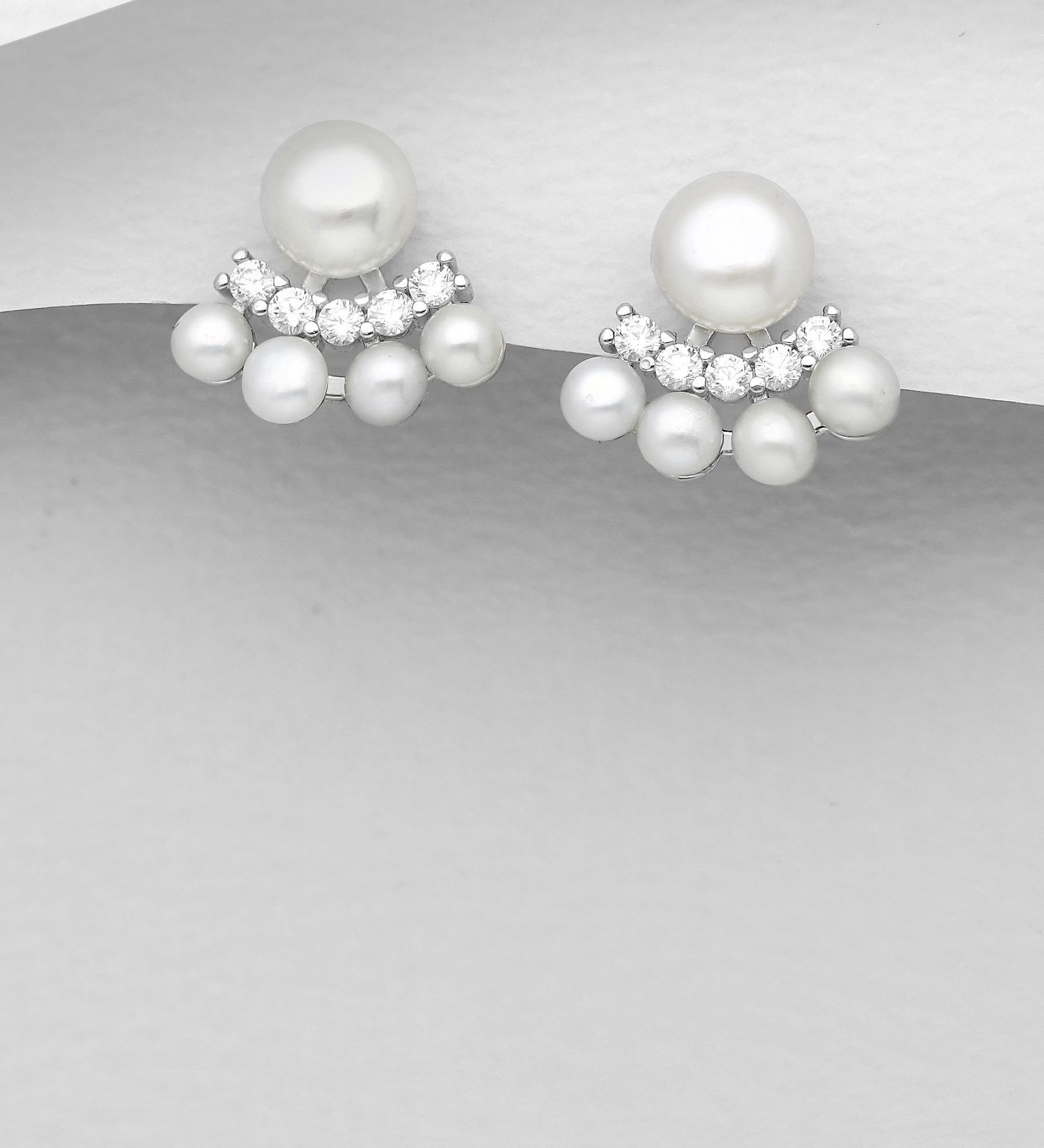 CZ Pearl Flair Earrings