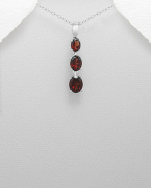 Gemstone Triple Drop Necklace