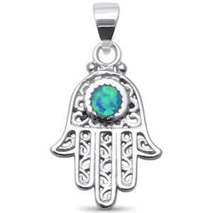 Blue Opal Hand of Hamsa Necklace