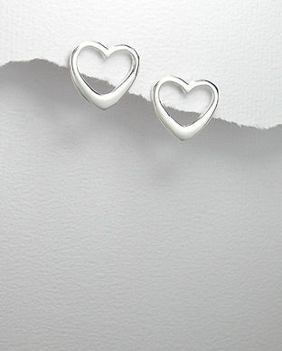 Outline Heart Post Earrings