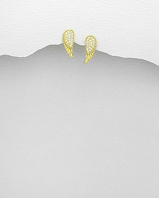 CZ Gold Angel Wing Earrings