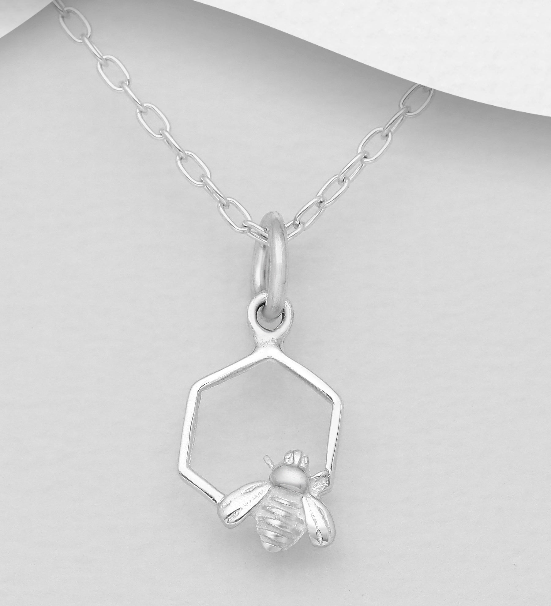 Hexagon and Bee Necklace