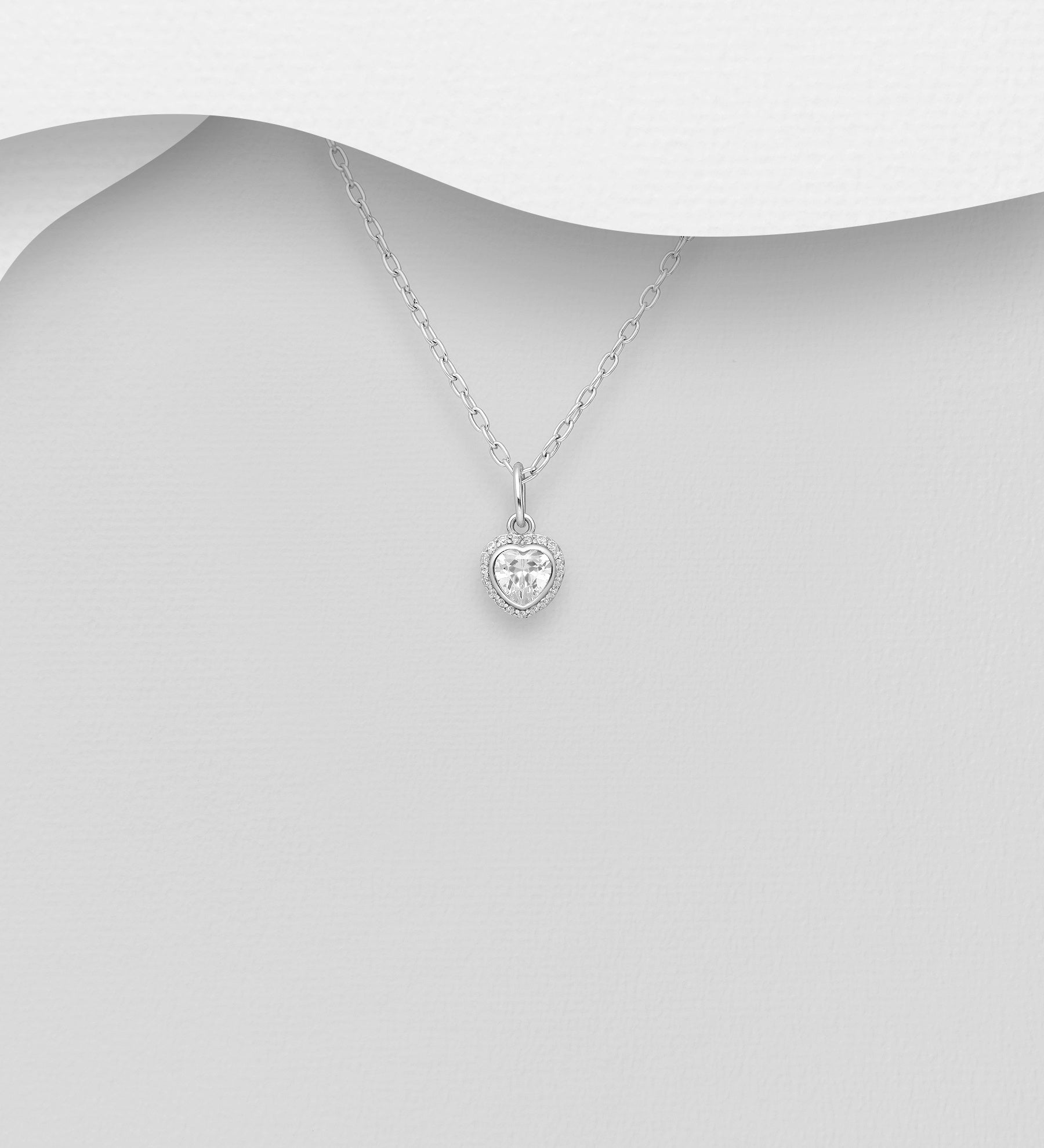 Halo CZ Heart Necklace