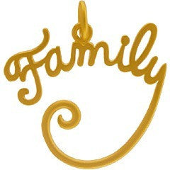 "Satin 24K Gold Plated Sterling Silver ""Family"" Pendant"