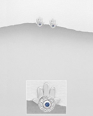 CZ Hamsa with Blue CZ Post Earrings
