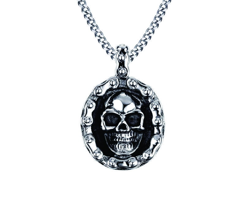 Bike Chain Oval Skull Necklace