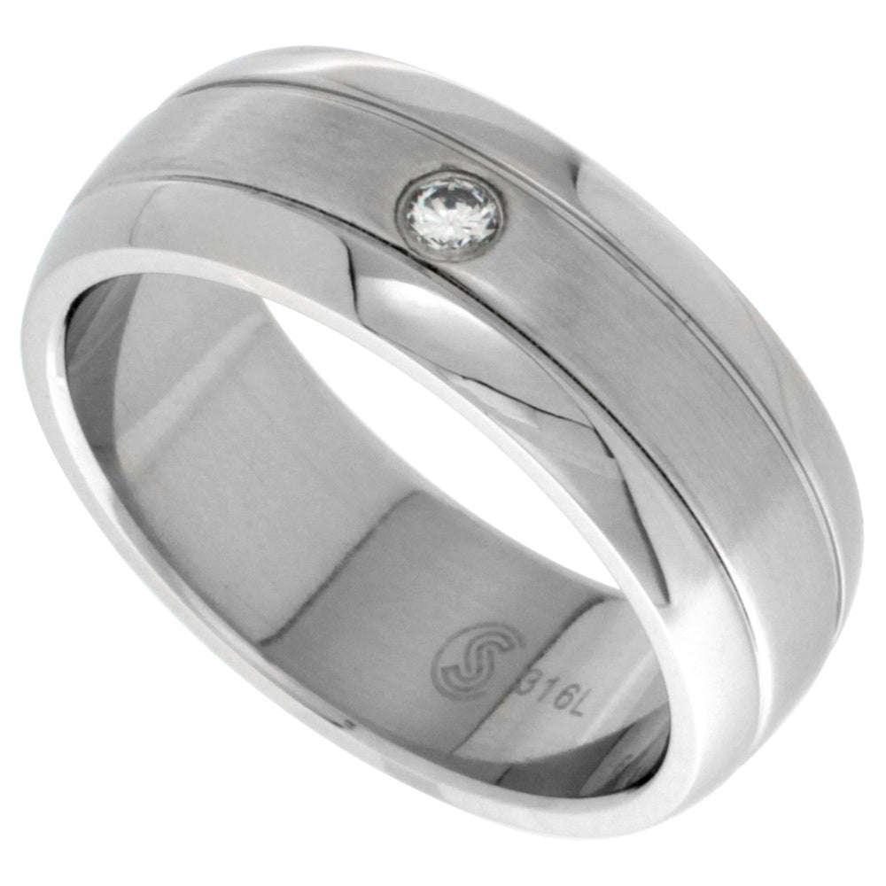 Stainless Steel CZ Dome Ring