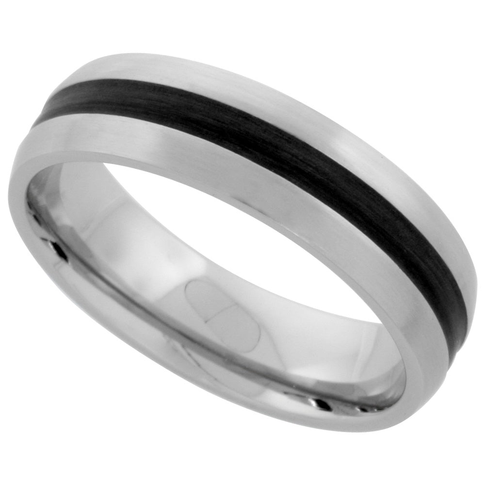 Stainless Steel Dome with Black inlay Ring 6mm