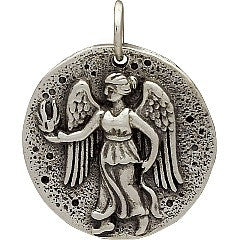 Sterling Silver Ancient Coin Charm with Angel