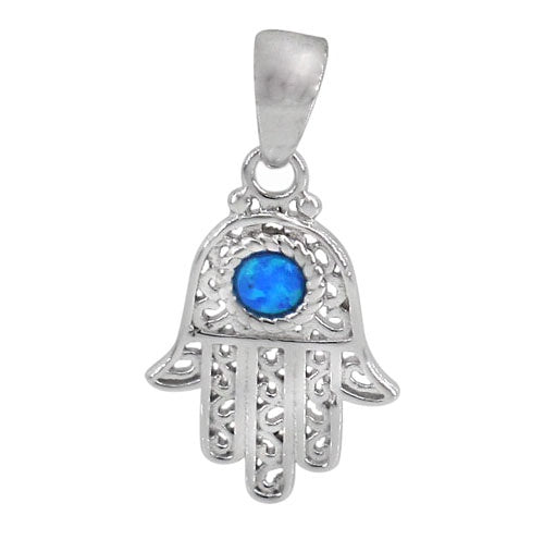 Blue Opal Hamsa Necklace