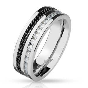 Stainless Steel Black and  CZ Channel Ring