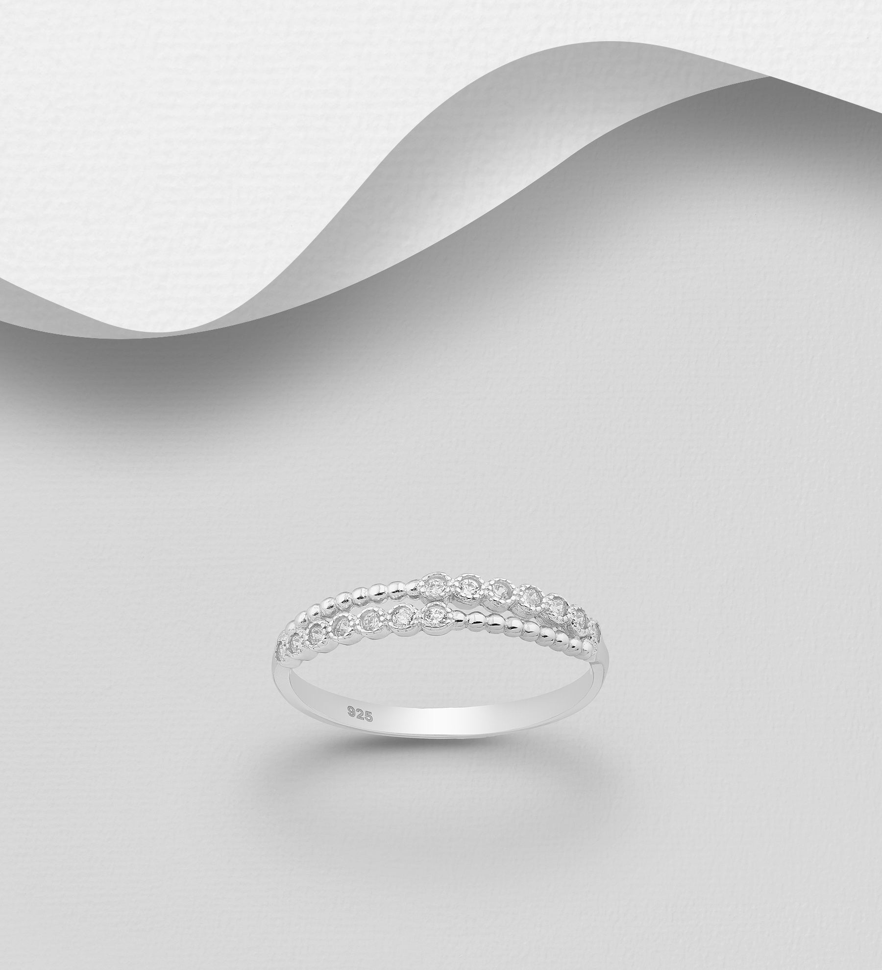 Dual CZ Layered Ring