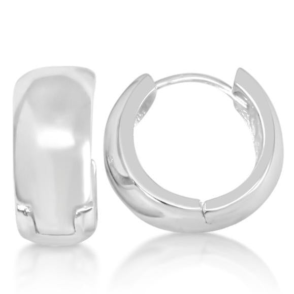 Smooth  Beveled Huggie Earrings