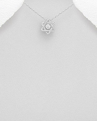 Smooth and CZ Star of David Necklace
