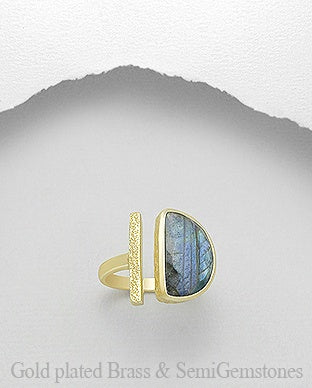 18K Gold Plated Faceted Half Circle Labradorite Ring