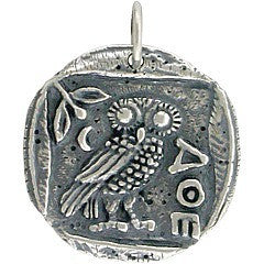Ancient Coin Charm with Athena's Owl - Layered Charm